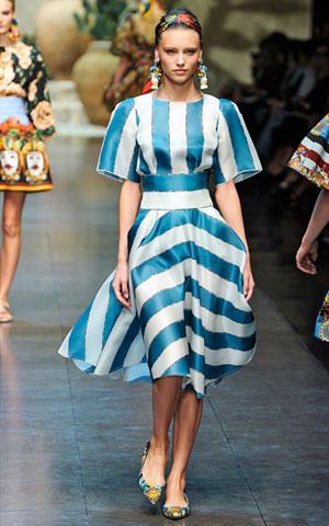 Plavo bela haljina Dolce Gabbana